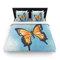 "Padgett Mason ""Summer Flutter"" Blue Orange Woven Duvet Cover"