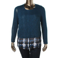 AGB Womens 2-in-1 Crew Neck Pullover Top
