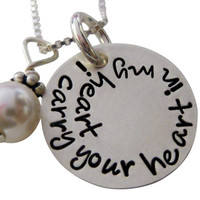 I Carry Your Heart in my Heart Necklace - Hand Stamped Jewelry - Hand Stamped Necklace