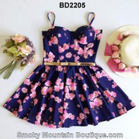 Floral Multi Color Bustier Dress with Adjustable Straps Size S/M - BD2205 - Smoky Mountain Boutique