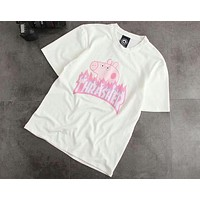 THRESHER Tide Brand Fashion Classic Flame Logo Spoof Piggie Page Short Sleeve F-CY-MN White