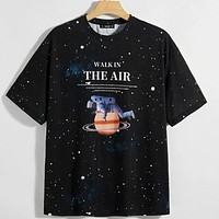 Fashion Casual Men Drop Shoulder Slogan Graphic Galaxy Tee