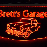 Personalized LED Man Cave Garage Sign with Color Changing Lights