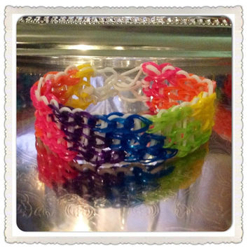 Rainbow Rubber Band Bracelet Multicolor Bracelet in Pink, Orange, Yellow, Green, Blue, and Purple Rainbow Loom Friendship Bracelet Stretch