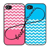 Pink and Blue Infinity Sign Best Friends Set i4 iPhone 4 4s Hard Case