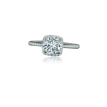 1 CT. Intensely Radiant Round Diamond Veneer Cubic Zirconia Center Set in Sterling Silver with platinum Electroplate Halo Ring. 635R202