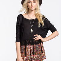 Patrons Of Peace Womens Crochet Trim Crop Top Black  In Sizes