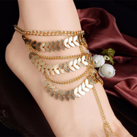 Barefoot Coin Ankle Chain Anklet Bracelet Foot Jewelry S al Beach Gold Plated For Women  EF8