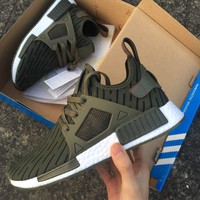 Best Online 2017 Adidas NMD XR1 Primeknit PK Zebra Green - BB2375 Sport Running Shoes Classic Casual Shoes Sneakers Boost