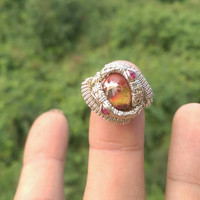 "SIZE 3.5 Ruby Opal Gemstones Wire Wrapped Ring ""Jelly Belly"""
