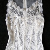 Intro semi-sheer white lace mesh top