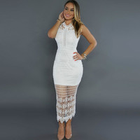 Sexy White Long Lace Dress Women Sleeveless Bodycon Dress Party Maxi Dresses Vestidos De Renda Lace Crochet Dress Vestido Longo