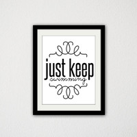 """Finding Nemo Typographic Poster. Movie Quote. Just keep Swimming. Inspirational Poster. Motivational. Dory. Movie Poster. 8.5x11"""" Print."""