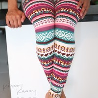Winter Tribal Nordic Cute Reindeer Aztec Pink Pants Tight Legging Skinny +VIDEO