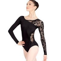 Adult Long Sleeve Leotard with Lace Sleeve and Insert,N8650BLKP,Black,Petite