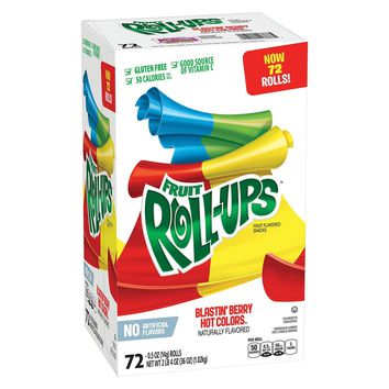 FRUIT ROLL UPS BLASTIN' BERRY HOT COLORS 72 CT