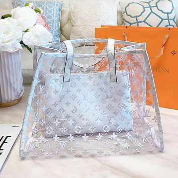 Inseva LV Louis Vuitton New Hot Sale Women Shopping Bag Beach Jelly Bag Shoulder Bag Transparent Handbag Wallet Two Piece Set