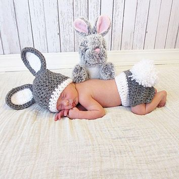 Handmade Infant Outfits born Photography Props Winter Baby Rabbit Shaped Crochet Knit Hat Shorts Warm Girls Clothes