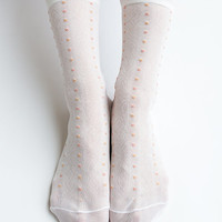 Women New Hezwagarcia Japanese Collection 100% Nylon Super Cozy Cute Dots Sheer Sheen Ruffle Elegant Ankle Socks Stocking Hosiery in White