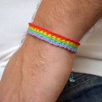Gay pride bracelet gay couple jewelry gay pride flag Friendship lgbt bracelet rainbow bracelet Lesbian gifts for gays man gift wedding gift wrap bracelet cotton bracelet macrame bracelet