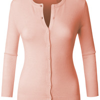 LE3NO Womens Fitted 3/4 Sleeve Round Neck Fine Knit Cardigan