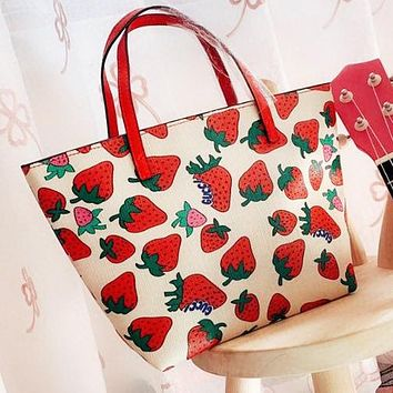 GUCCI Fashion Woman Shopping Bag Leather Mini Cute Strawberry Print Handbag Tote Satchel