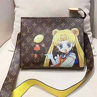 LV Louis Vuitton New fashion monogram anime print leather shoulder bag women