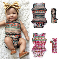 Floral Baby Girls Classic Sleeveless Romper Bodysuit One Pieces Headband Clothes Sunsuit Outfits