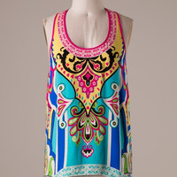 Tribal Print Tank Top - Aqua and Yellow
