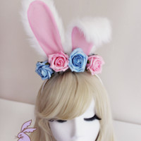 'Rosey' Rabbit Headband in Pink & Blue  | Pixie Bunny