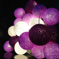 20 Lighting Purple Tone Cotton Ball String Lights Ideal for Christmas Lights, Party Lighting, Bedroom Decor