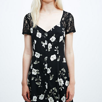 Pins & Needles Lace Insert Floral Dress in Black - Urban Outfitters