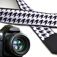 Ornamental camera strap. Black and white tracery camera strap. Camera strap for DSLR & SLR cameras. Gifts for him by InTePro