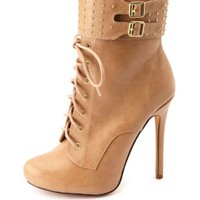 Studded & Cuffed Stiletto Lace-Up Booties by Charlotte Russe - Taupe