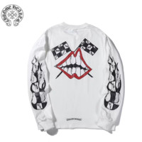 Chrome Hearts New fashion pattern lips print couple long sleeve top sweater White