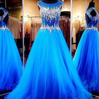 2017 New Prom Dresses Round Sheer Top Shinny Crystal Beading Party Gowns Backless Custom Tulle Special Occassion Dresses LB1788