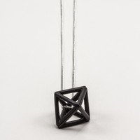 Black Hollow Octahedron Pendant Necklace