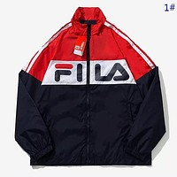 Fila New fashion letter print couple contrast color long sleeve coat windbreaker 1#