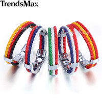 """Trendsmax 2016 World Cup National Flags Sports 3 Strands Rope Braided Surfer Leather Mens Friendship Bracelets (8"""" Long) LBW18"""