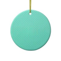 Mint Green And White Polka Dots Christmas Tree Ornaments