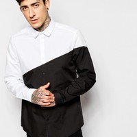 ASOS Shirt In Long Sleeve With Diagonal Cut And Sew