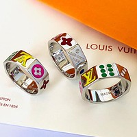 LV Louis Vuitton new personality beveled lettering fashion couple men and women ring
