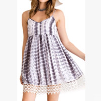 Fashion Casual Tie Dye Print Stitching Lace V-Neck Sleeveless Strap Mini Dress