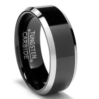 Tungsten Metal Men's Ladies Unisex Ring Wedding Band 8MM (5/16 inch) Flat Top Two Tone Black Beveled Edge Comfort Fit (Sz 7 to 16)