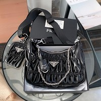 Prada hot sale two-piece suit chain underarm bag fashion lady handbag street style one-shoulder messenger bag coin purse