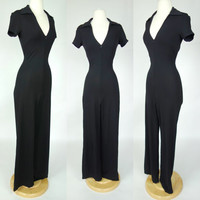 1990s black cat suit jumpsuit, short sleeve body con zip up wide leg jumpsuit, Small, 6 Bebe