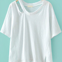 V-Neckline Cut-Out White T-Shirt