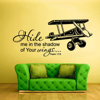 Wall Vinyl Sticker Decals Decor Art Bedroom Design Mural Words Sign Quote Wings Airplane aircraft (z937b)