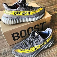 ADIDAS x Off White Yeezy Boost 350 V2 Fashion New Women Men Fashion Sport Sneakers Shoes