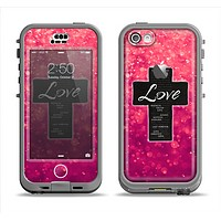 The Love is Patient Cross over Unfocused Pink Glimmer Apple iPhone 5c LifeProof Nuud Case Skin Set